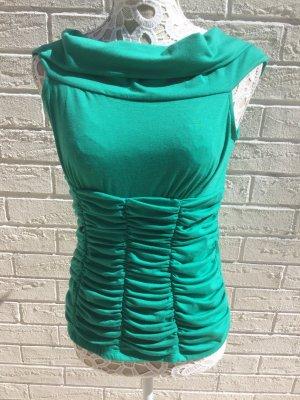 Smaragdgrünes Camen Wasserfall Ausschnitt Top 38 kleine 40 Neu