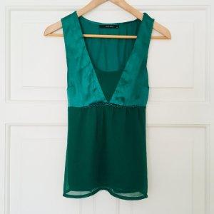Smaragdgrünes Oberteil Top Bluse von Vero Moda in Größe 34/36 XS/S perfekt für Weihnachten und Silvester