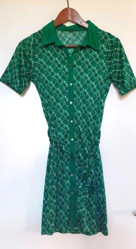 Smaragdgrünes Vintage Kleid mit durchgehender Knopfleiste und Retromuster