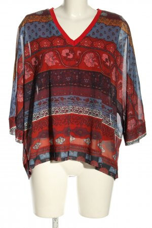 Smash Slip-over Blouse red-blue abstract pattern classic style