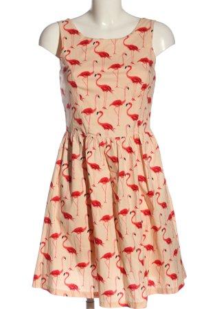 Smashed lemon A-Linien Kleid creme-rot Allover-Druck Elegant