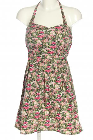 Smashed lemon Halter Dress green-pink allover print casual look