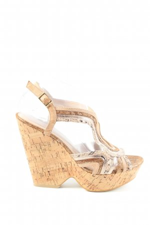 SMH Wedges Sandaletten creme-nude Animalmuster Casual-Look