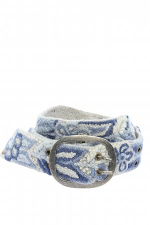 Smitten Cinturón de tela blanco-azul estampado floral look casual
