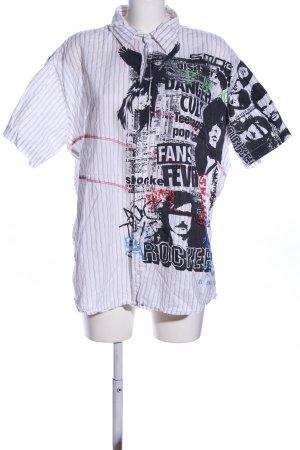 SMOG Camicia a maniche corte bianco-nero stampa integrale stile casual