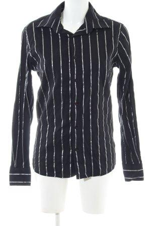 SMOG Camicetta a maniche lunghe nero-argento motivo a righe stile professionale