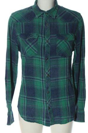 SMOG Camicia a maniche lunghe verde-blu stampa integrale stile casual