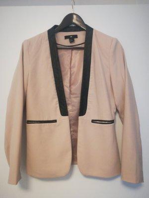 H&M Blazer in pelle nero-rosa pallido