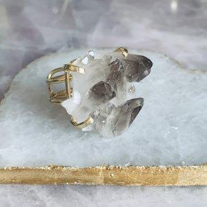 Smoky Crystal Quarz Ring Gemstone