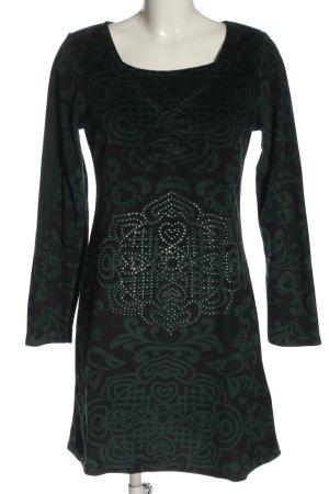 Snake Milano Langarmkleid grün abstraktes Muster Elegant