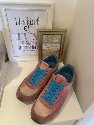 Colors of California Lace-Up Sneaker pink-neon blue