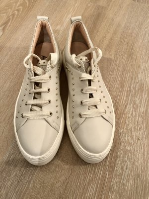 AGL Sznurowane trampki biały-w kolorze białej wełny Skóra