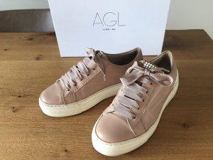 AGL Basket à lacet rose chair cuir
