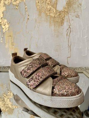 Zapatillas con hook-and-loop fastener rosa-color oro