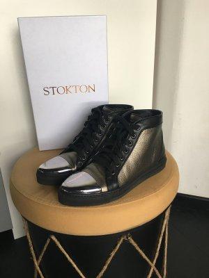 Sneaker high Top Bronze Gold schwarz Silber Stokton Blogger italy leder 37 38 NP 155