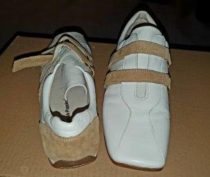 """Sneaker """"Hush Puppies"""" weiß mit hellbraunen Lederapplikationen, Klettverschluß"""