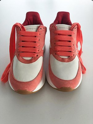 Alexander McQueen High Top Sneaker raspberry-red-white leather
