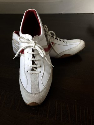 Sneaker-Lederschuhe weiß mit Rot
