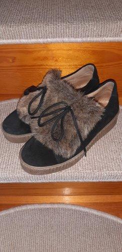 Alba Moda Sznurowane trampki czarny-jasnobrązowy Skóra