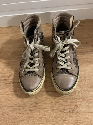 moda in pelle High Top Sneaker brown-cream