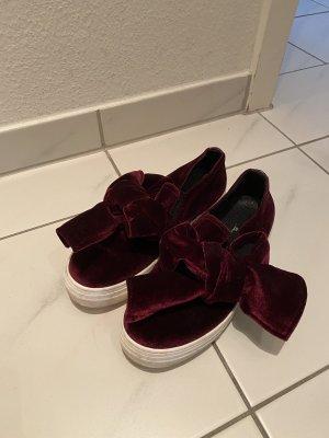 Sneaker slip-on bordeaux-bianco