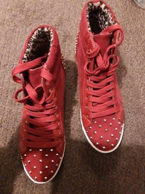 Sneaker Schnürschuhe rot gold Stachelnieten Gr.36
