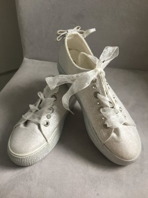 Sneaker, Silber- weiß, Gr. 39, Steinchen