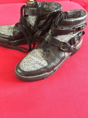 sneaker stiefel mjus schwarz/weiss schnallen u schnürung