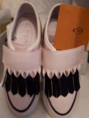 Zapatillas con velcro negro-rosa empolvado Cuero