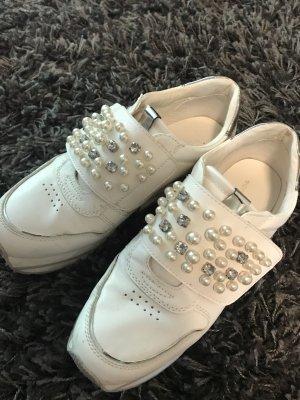 Sneaker, Tom Tailor, mit Perlen und Klettverschluss , Gr 38, weiß