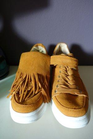 Sneaker, Turnschuhe, Zara, braun, mit Fransen (abnehmbar), Leder, Plateausneaker, Plateau