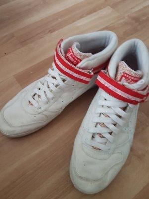 Asics Basket velcro blanc-rouge