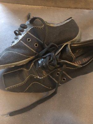 Miu Miu Lace-Up Sneaker black-white