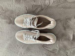 Sneaker con tacco bianco-rosa antico