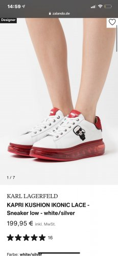 Karl Lagerfeld Sneakresy na obcasie czerwony-biały
