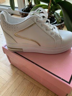Sneakers/Turnschuhe - Absatz - White/Gold - Größe 38 - Zum Schnüren