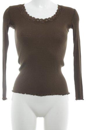 Snob Prążkowana koszulka brązowy W stylu casual