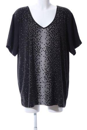 So bin ich V-Ausschnitt-Shirt schwarz-weiß Punktemuster Casual-Look