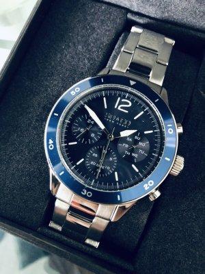 Zegarek z metalowym paskiem srebrny-ciemnoniebieski