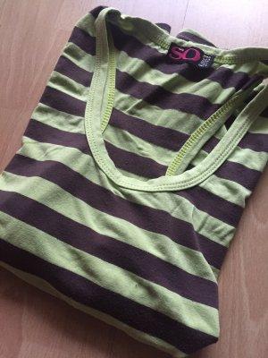 Basic topje donkerbruin-neon groen