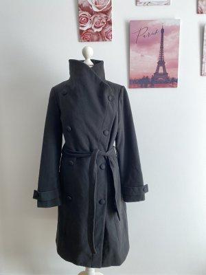 Soaked in Luxury Mantel Wollmantel Oversized Schwarz Black Wolle Gürtel M 38