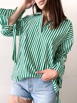 Soaked in luxury Bluzka oversize biały-leśna zieleń Bawełna