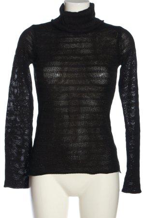 Soaked in luxury Colshirt zwart Webpatroon casual uitstraling