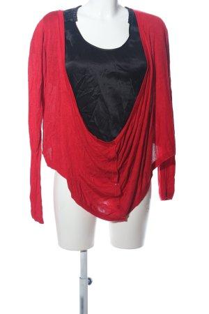 Soaked in luxury Giacca in maglia rosso-nero stile casual