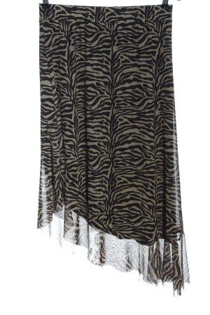 Soaked Jupe asymétrique noir-kaki imprimé allover style décontracté