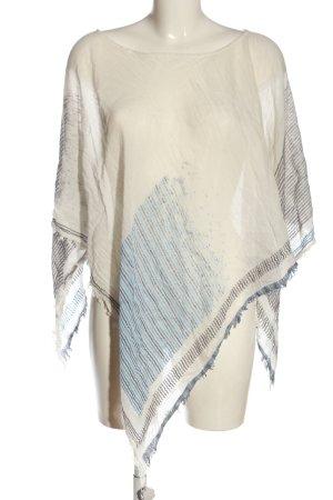 SOAMAS BY KRYSTALL Poncho blanco-azul estampado a rayas look casual