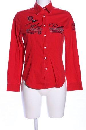 Soccx Hemd-Bluse rot Schriftzug gestickt Casual-Look