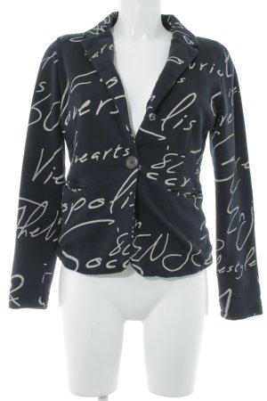 Soccx Jerseyblazer weiß-dunkelblau Schriftzug gedruckt Casual-Look