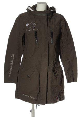 Soccx Capuchon jas bruin prints met een thema casual uitstraling
