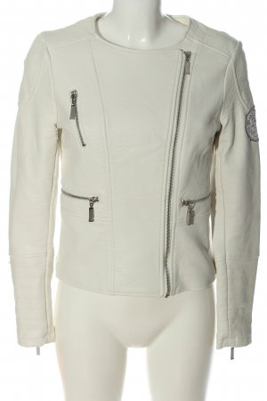 Soccx Faux Leather Jacket white casual look